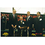 Former Sen. Jay Rockefeller, Mr. Eiji Toyoda, then-Governor Gaston Caperton and Hiroshi Okuda celebrate the groundbreaking of the Toyota plant in Buffalo, W. Va. in September 1996. (Photo: Business Wire)