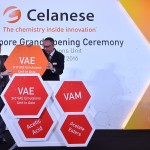 Celanese Senior Vice President and head of Asia operations, Mark Oberle (left) announces the grand opening of the new Singapore VAE (vinyl acetate ethylene) Emulsions Unit for Celanese (Photo: Business Wire)