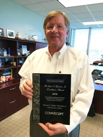 Eddie Edwards, president and chief executive officer, CommScope, Inc., was presented with the 2016 L ...