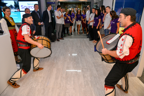 ServiceSource celebrates its new Sofia revenue delivery center with local Bulgarian festivities. (Photo: Business Wire)