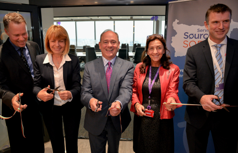ServiceSource executives and the Mayor of Sofia celebrate the  grand opening of the company's newest delivery center with a ceremonial ribbon-cutting ceremony. (Photo: Business Wire)