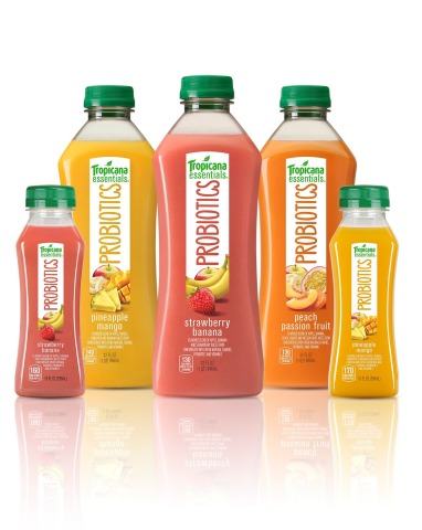 Tropicana Probiotics is available in three delicious flavors: Strawberry Banana, Pineapple Mango and Peach Passion Fruit (Photo: Business Wire)