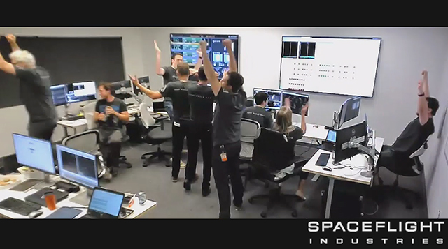 The Spaceflight Industries launch team celebrated the confirmed successful launch of BlackSky Pathfinder-1.