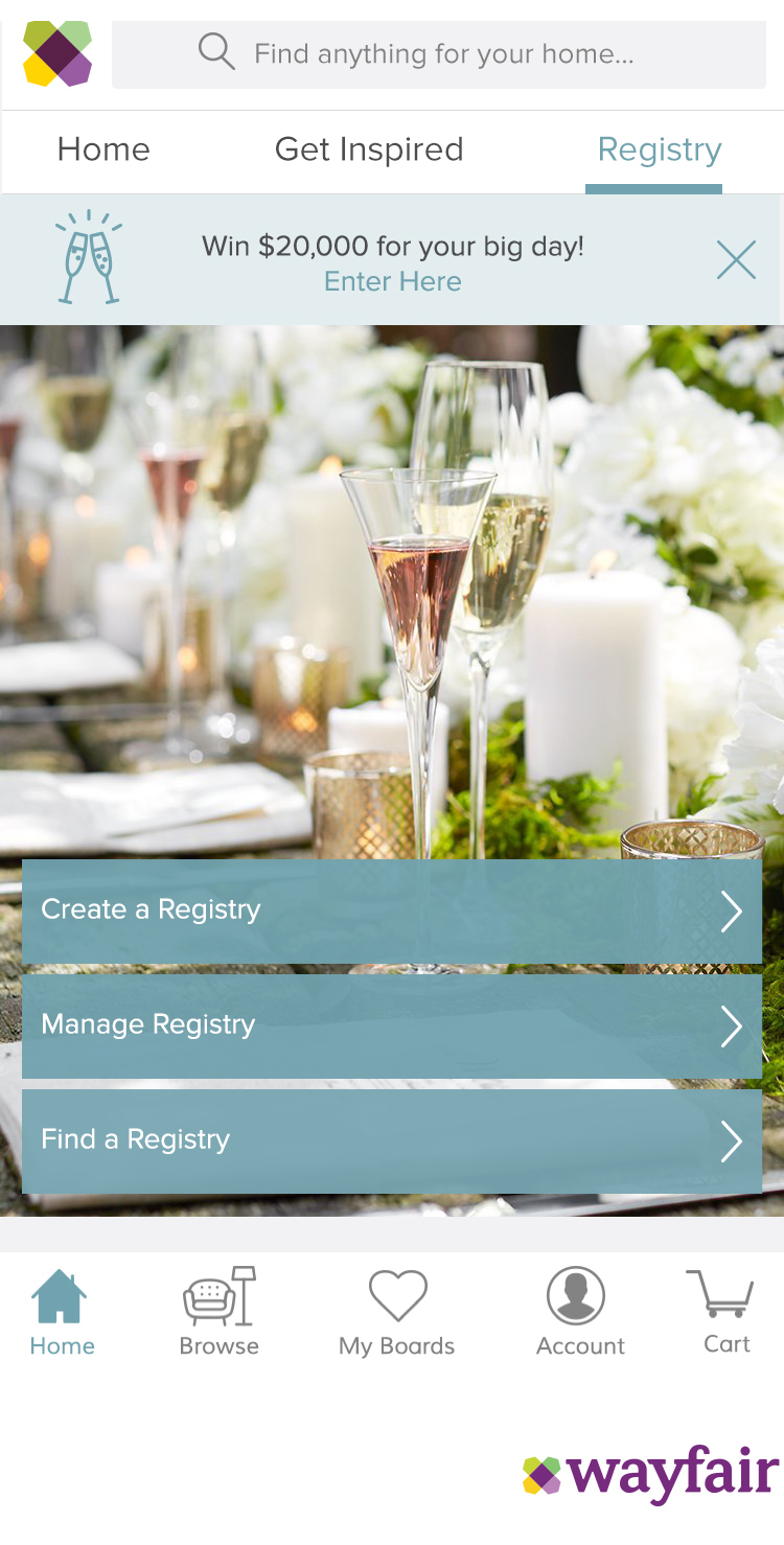 wayfair launches wedding registry for every room of the home