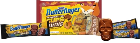 BUTTERFINGER debuts spooktacular new treats for Halloween including, the BUTTERFINGER Peanut Butter Cup Skulls and BUTTERFINGER Peanut Butter Cup Minis. Both are available now at major retailers nationwide.