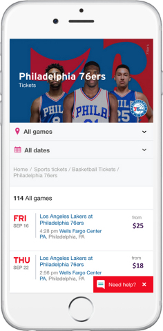 StubHub's new Philadelphia 76ers ticketing platform. (Photo: Business Wire)