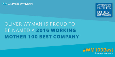 "Working Mother magazine recognized Oliver Wyman as one of the 2016 ""Working Mother 100 Best Companies"" for its outstanding leadership in creating progressive programs for its work force, in the areas of advancement of women, flexibility, child care and paid parental leave. The 100 Best Companies are featured in the October/November issue of Working Mother and on workingmother.com."