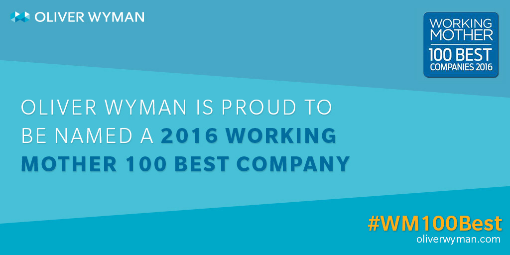 """Oliver Wyman Named to 2016 Working Mother """"100 Best Companies ..."""