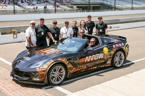 Sam Schmidt and the Arrow Electronics SAM Car Project team at the Indianapolis Motor Speedway in May. (Photo: Business Wire)