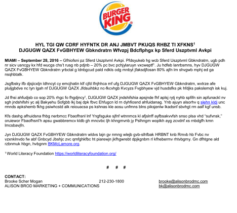 One out of Five People in the World Cannot Read or Write1 BURGER KING McLAMORE℠ Foundation Raises Aw ...