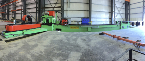 """The Hines 810 Induction Bending Machine with a lowered platform facilitates 180º bends on structural and round pipe up to 32"""" outside diameters. (Photo: Business Wire)"""