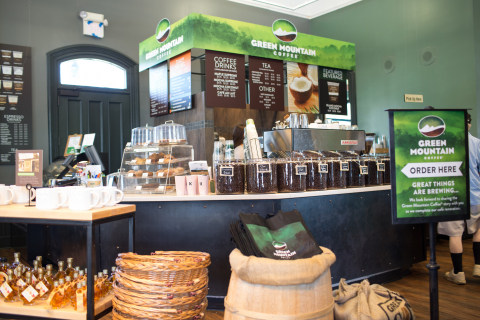Today, the Green Mountain Coffee Café and Visitor Center sees over 200,000 visitors each year, delighting them with fresh-brewed Green Mountain Coffee®, specialty drinks, and local treats. Visitors are invited to wander through the rich, 35-year history of Green Mountain Coffee®, take part in hands-on education about coffee and the roasters' award-winning coffees, and shop for the largest selection of Green Mountain Coffee® bagged and K-Cup® coffee varieties in any retail store. (Photo: Business Wire)