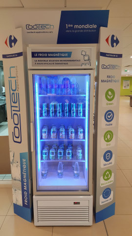 Cooltech's magnetic cooling display cabinet at Carrefour's head office restaurant (Photo: Business Wire)