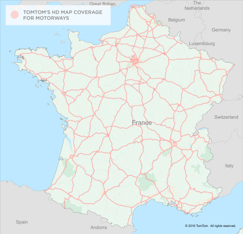 TomTom expands HD Map coverage to France, totaling over 200K kilometres (Graphic: Business Wire)