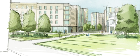 Watercolour image of the West Campus Residences Project at the University of Hull.