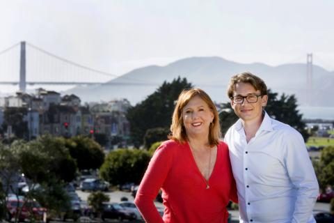 Barbara Bates, CEO, North America and Brendon Craigie, Global CEO at Hotwire PR celebrate the acquis ...