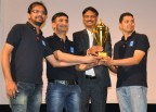 From left to right the Axalta Savli Plant team included: Tanveer Shaikh, Vijay Parashar, Mr. Piyush Bansal (Plant head - Apollo Tyres) and Ajinkya Joshi (Photo: Axalta)