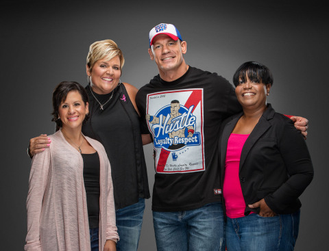 From left to right: Breast cancer survivors Angelica Martinez, Kelly Sherman and Regina Foreman join ...