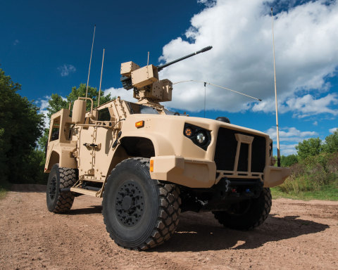 The Oshkosh JLTV is equipped with the EOS R-400S-MK2 remote weapons system and the Orbital ATK M230  ...