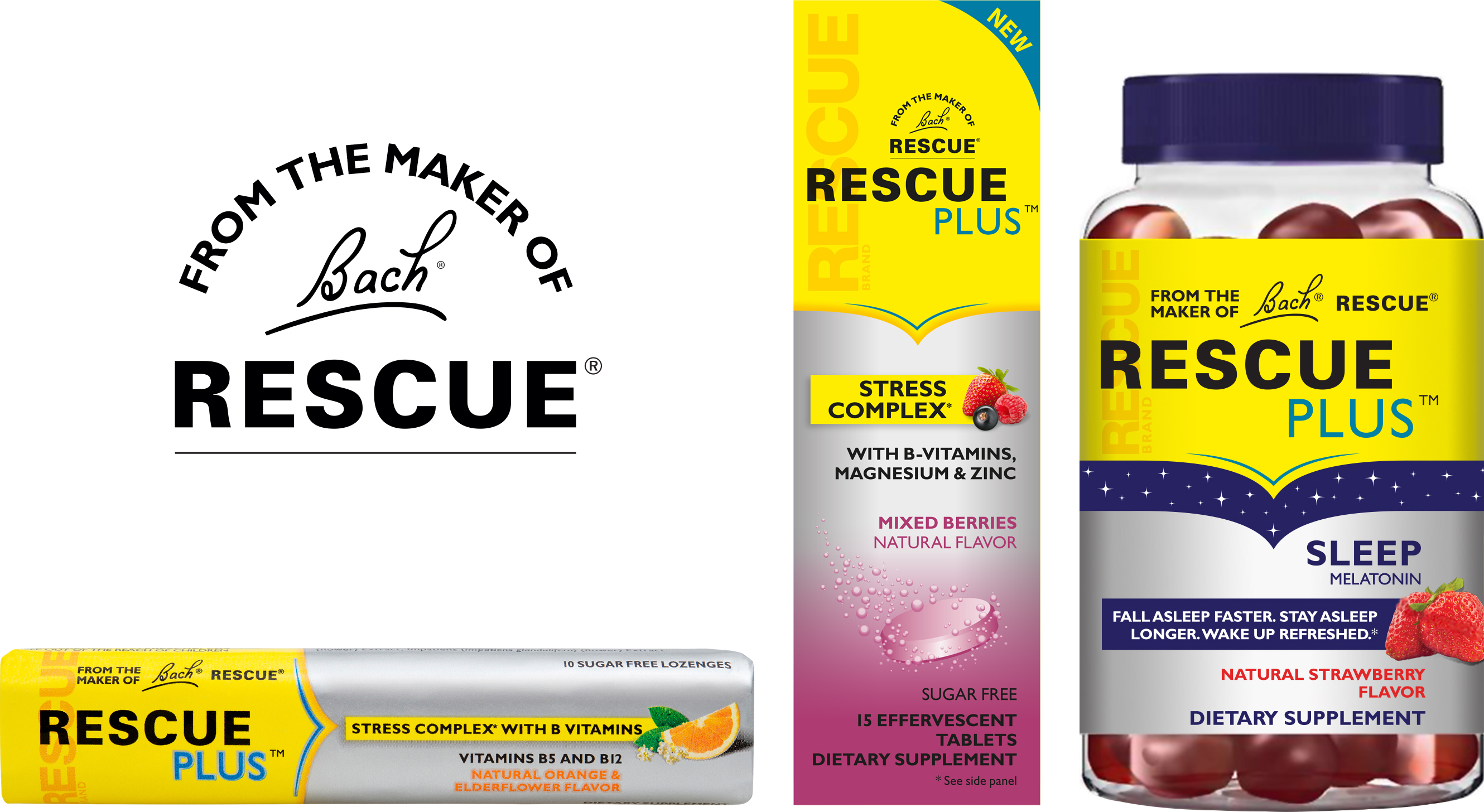 New RESCUE PLUS Lozenge, Effervescent and Sleep Gummy, from the Makers of Bach RESCUE Products. (Photo: Business Wire).
