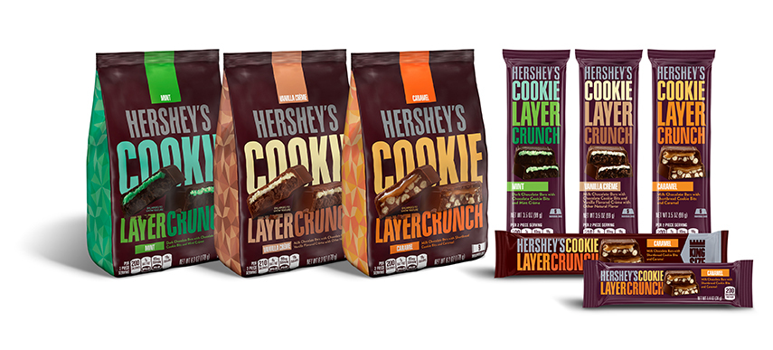 New Hershey's Cookie Layer Crunch will be offered in multiple sizes for a variety of snacking occasions. (Photo: Business wire)