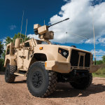 The Oshkosh JLTV is equipped with the EOS R-400S-MK2 remote weapons system and the Orbital ATK M230 LF 30 mm gun (Photo: Business Wire)