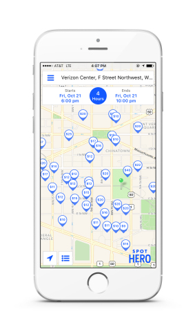 SpotHero currently offers 30 parking locations within a 10 minute walk of Verizon Center, with savings of up to 50% off. (Graphic: Business Wire)