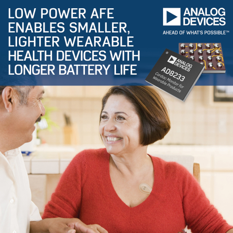Analog Devices' Low Power AFE Enables Smaller, Lighter Wearable Health Devices with Longer Battery L ...
