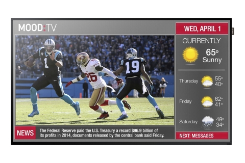 An image to showcase what Mood's customized content solutions can look like on a Samsung screen via this SMART Signage Platform (Photo: Business Wire).