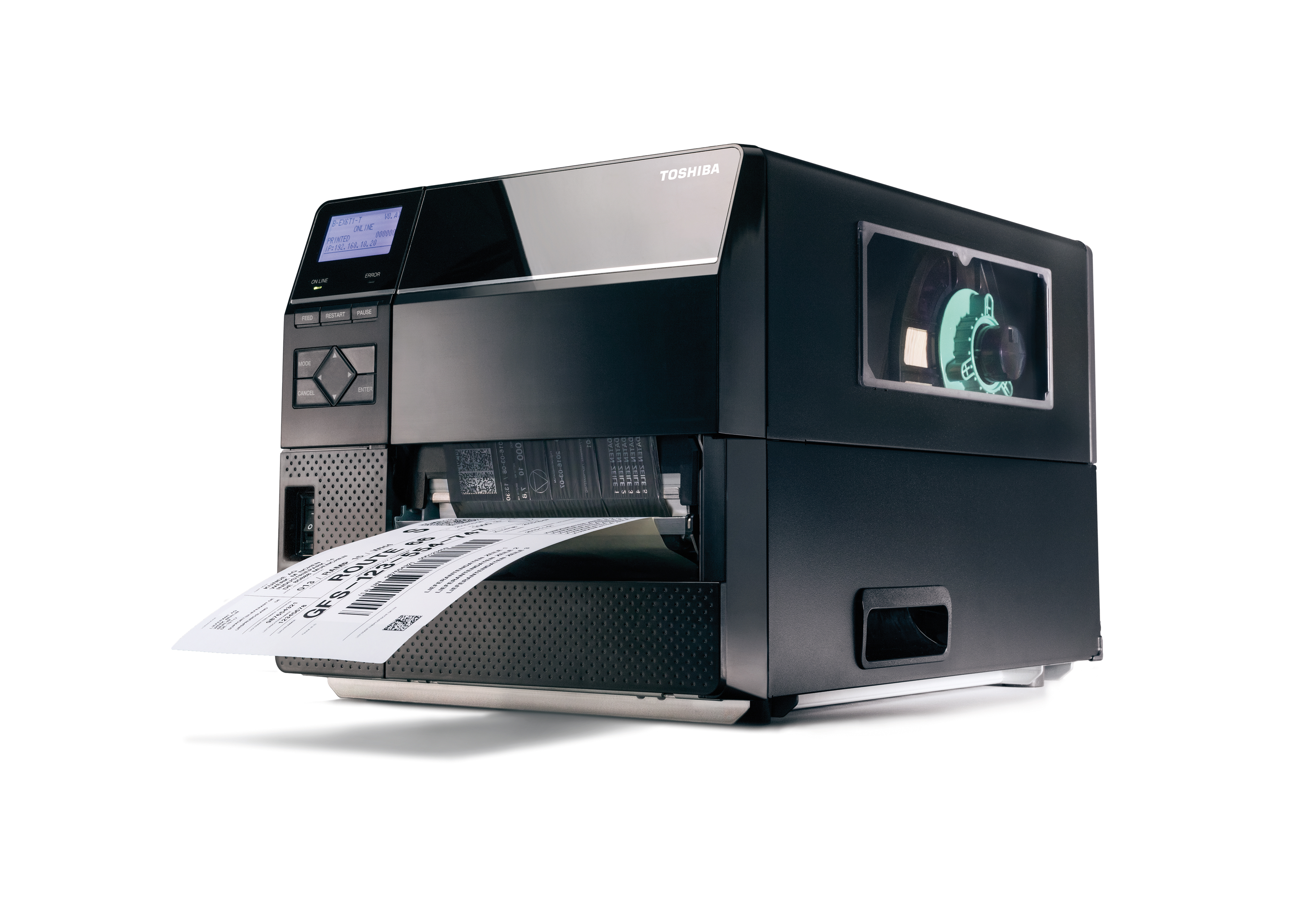 Toshiba Tec Corporation unveils its newly-developed, industrial label printer, B-EX6. The 6-inch width label printer implements Toshiba's state-of-the-art technology to help achieve elite performance with lower total cost of ownership. (Photo: Business Wire)