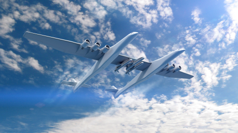 Conceptual rendering of the Stratolaunch Aircraft and the Orbital ATK Pegasus XL air-launch vehicles. (Photo: Business Wire)