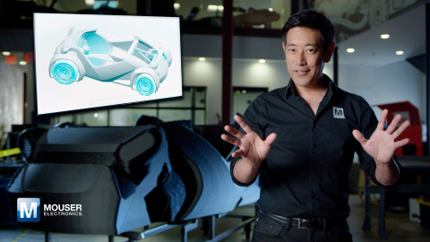 "Mouser Electronics, Grant Imahara and Local Motors unveil the Essence of Autonomy ""Fly Mode"" project. To check out the cool new video and learn more about this exciting 3-D autonomous vehicle from the Empowering Innovation Together program, visit www.mouser.com/empowering-innovation. (Photo: Business Wire)"
