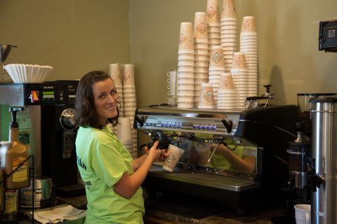 The Buckin' Bean in Clarendon, Texas, is the only coffee shop in town. The store opened August 29 with a grant from Interstate Bank and the Federal Home Loan Bank of Dallas. Monica Childers (shown) co-owns the shop with her husband, Chris. (Photo: Business Wire)