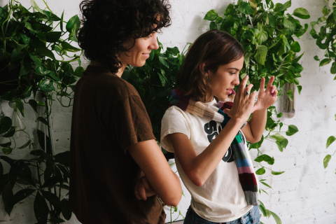 Alexa Chung and Stella Greenspan on set with UGG (Photo: Business Wire)