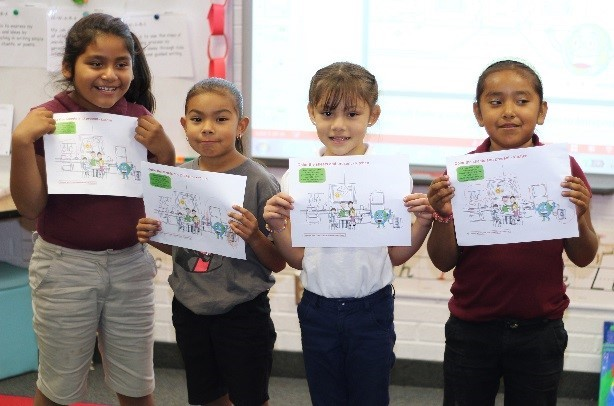 Students were excited to present their drawings in front of the class. (Photo: Business Wire)