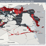 IHS Conflict Monitor: Islamic State territorial gains and losses between January 2015 and October 2016. (Graphic: Business Wire)