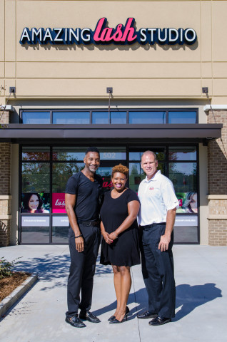 Amazing Lash Studio Snellville, Georgia, Asst. Manager Anthony Robinson, Manager Jessica Jennings and Owner Brett Phillips (Photo: Business Wire)