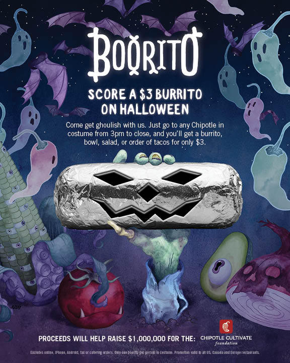 Go to any Chipotle in costume from 3 p.m. to close on Halloween and get a burrito, bowl, salad, or order of tacos for only $3. Proceeds will help raised $1 million for the Chipotle Cultivate Foundation. (Photo: Business Wire)