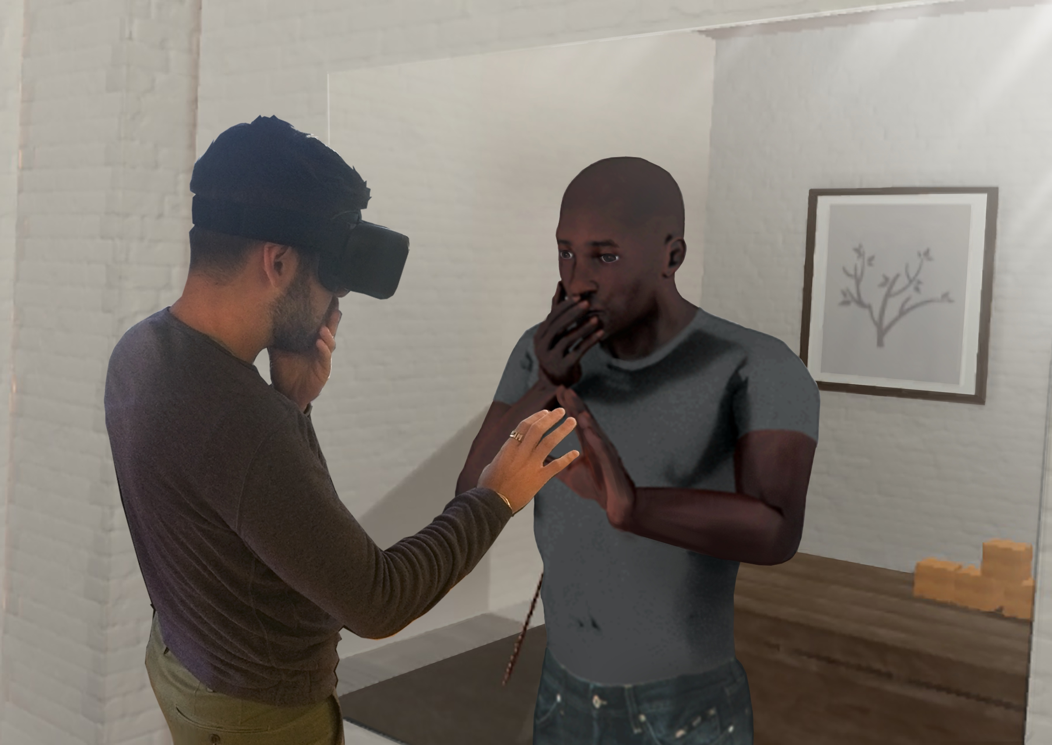 A virtual reality user looks in a virtual mirror and sees himself as a physically different person in a VR program, designed by startup company SPACES, that has the potential to reduce the impact of implicit bias, the measurable, objective attitudes and stereotypes that everyone carries. SPACES introduced the new implicit bias VR program today (Oct. 10, 2016). SPACES has created the implicit bias VR program with academic and scientific research, law-enforcement and corporate training in mind. (Photo: Business Wire)