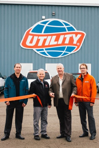 Pictured from Left to Right: Ben Cook – Trailer Sales Manager, Valley Equipment Ltd. Terry Keating – Mayor of Salisbury Peter Cook – President of Valley Equipment Ltd Caleb Cook – Vice President of Valley Equipment Ltd. (Photo: Business Wire)