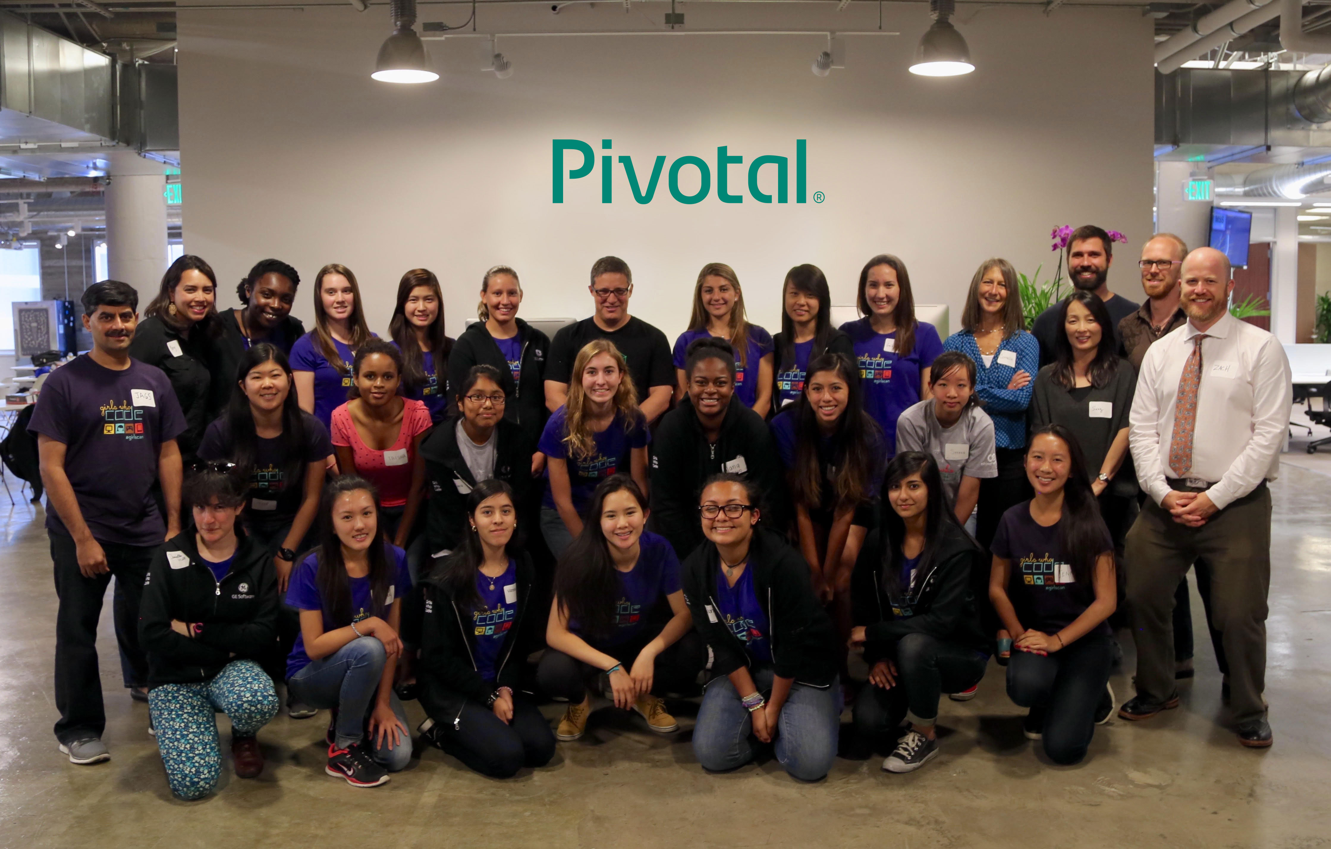Pivotal CEO Rob Mee poses with teens taking part in Girls Who Code summer immersion and mentorship program held at Pivotal. (Photo: Business Wire)