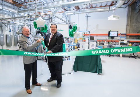 Littelfuse CEO Gordon Hunter (left) and Bill Harrison, Mayor of the City of Fremont, cut the ribbon at the opening of the Littelfuse Silicon Valley Technology Center in Fremont, California (Photo: Business Wire)