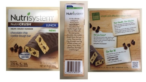 Nutrisystem Everyday, LLC, the retail division of Nutrisystem, Inc., is voluntarily recalling Nutricrush Chocolate Chip Cookie Dough bars, manufactured by Noble Foods, Inc. (Photo: Business Wire)