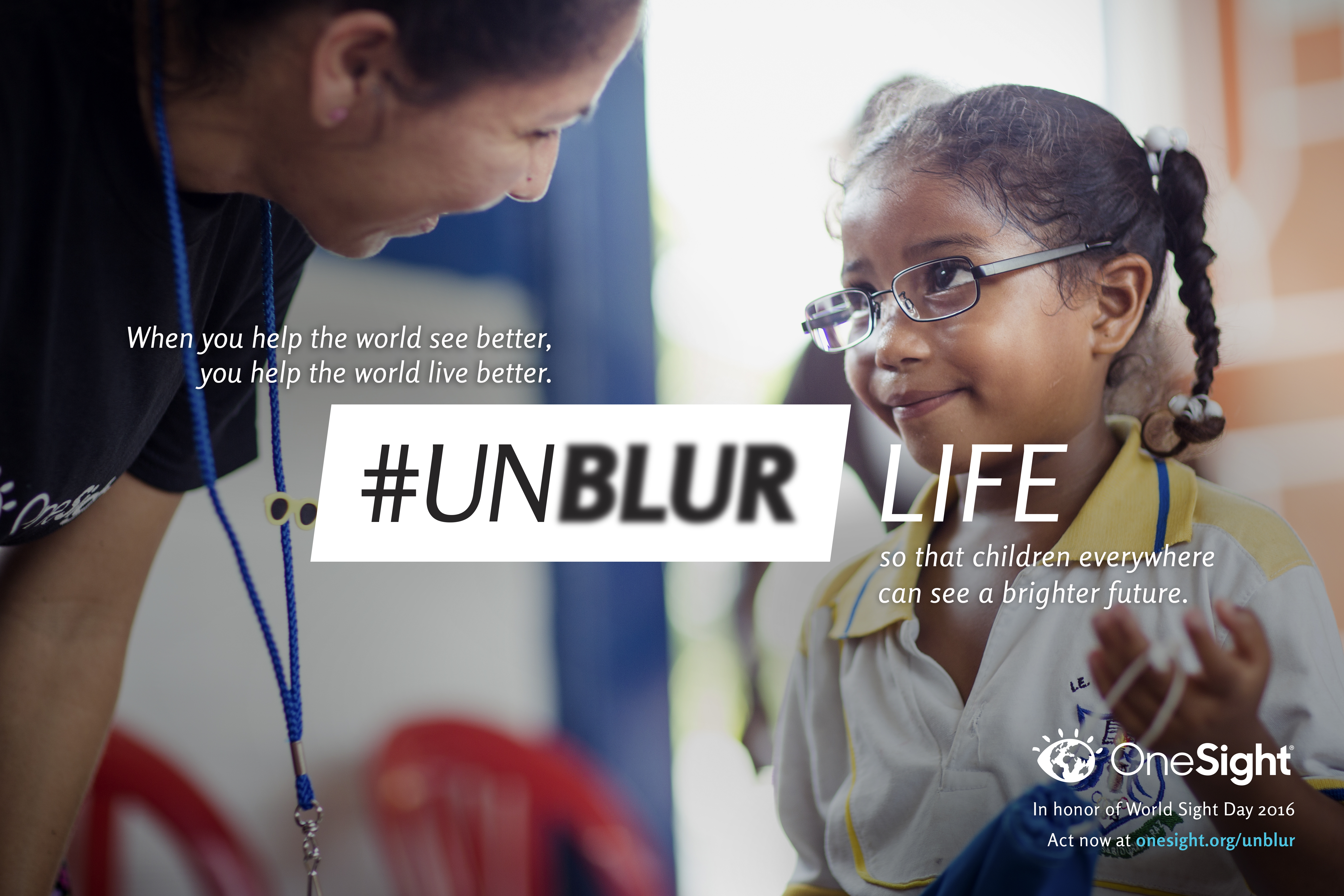 In honor of World Sight Day, OneSight launches their #UNBLUR campaign so that students everywhere can reach their full potential. (Graphic: Business Wire)
