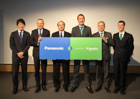 from left to right: Hiroshi Komatsubara, Chief Sales Officer Airconditioner Company, Appliance Company, Panasonic; Laurent Abadie, CEO and Chairmann, Panasonic Europe; Toshiyuki Takagi, President Air-Conditioner Company and VP Appliance Company, Panasonic; Jean Marc Zola, Commercial Senior VP, EcoBuilding Division, Schneider Electric; Jean de Kergorlay, VP Commercial Field Services & BMIS, EcoBuilding Division, Schneider Electric; Simon Le Blond, SmartSpace Commercial VP, EcoBuilding, Schneider Electric (Photo: Business Wire)