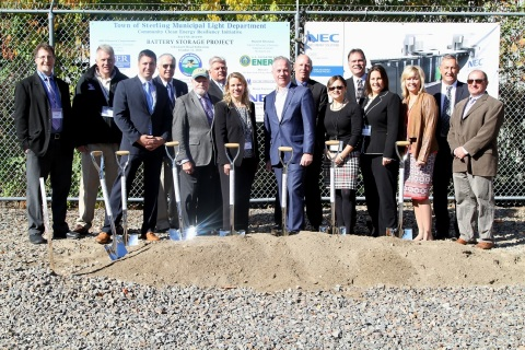In an official groundbreaking ceremony today in Sterling, MA, Town officials, Massachusetts State officials, U.S. Department of Energy, Sandia National Laboratories, Clean Energy States Alliance, and NEC Energy Solutions representatives commemorated the Sterling Energy Storage project, the Largest Battery Grid Energy Storage Installation in New England. (Photo: Business Wire)