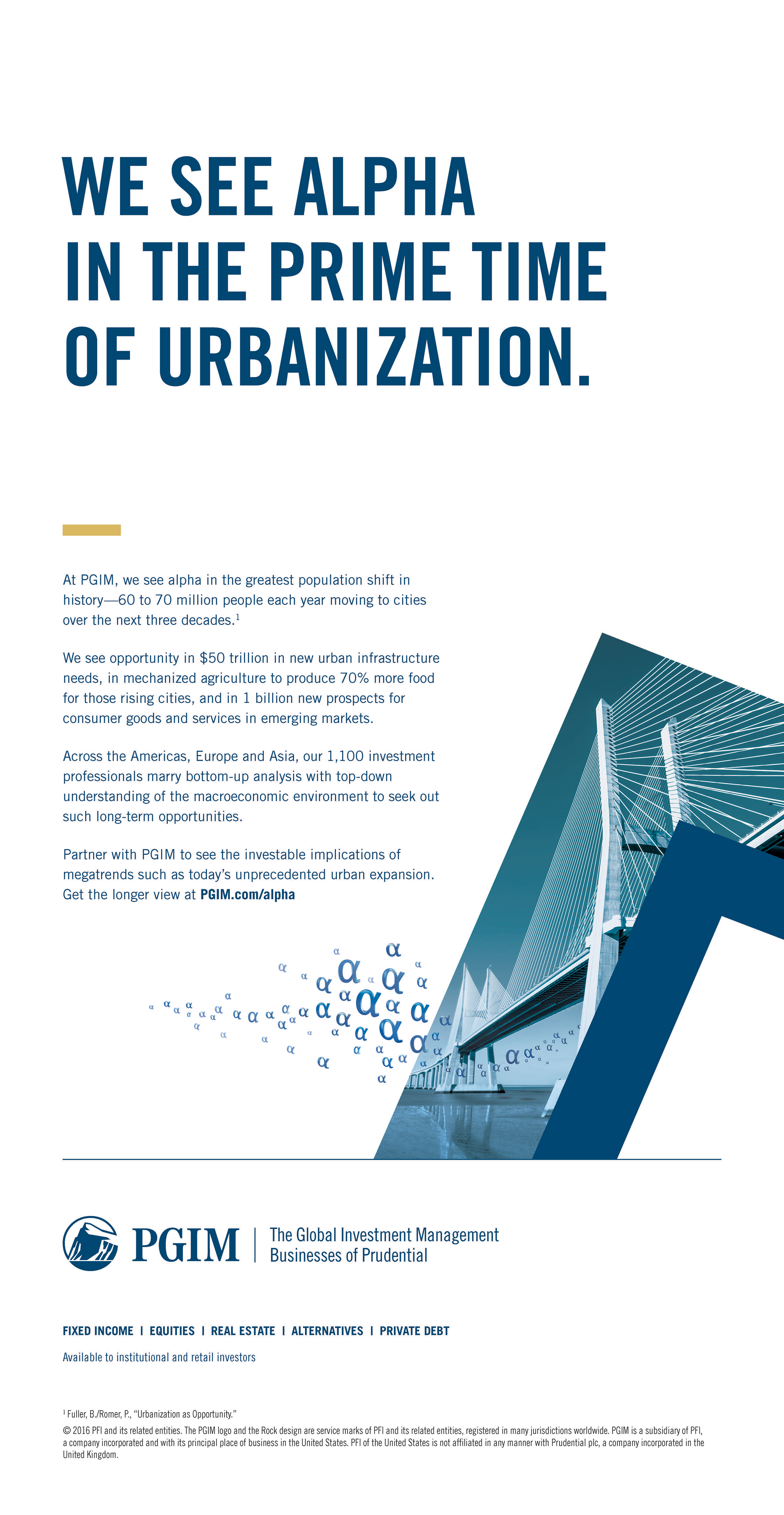 PGIM's full-page ad, running in the U.S., touts the company's perspective on opportunities borne of global urbanization. (Graphic: Business Wire)