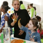 "Kristin Cavallari, mother, designer and New York Times Best-selling author, gets messy with attendees at Bounty's Memorable First Moments ""First Birthday Bash"" on Thursday, October 13, 2016 in New York. (Photo by Stuart Ramson/Invision for Bounty/AP Images)"