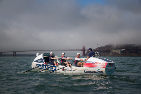 Practicing in the cold ocean waters of the San Francisco Bay, California, the crew of Carlisle's American Spirit prepares for their trans-Atlantic race in December, rowing 3000 nautical miles from the Canary Islands to Antigua. (Photo: Business Wire)