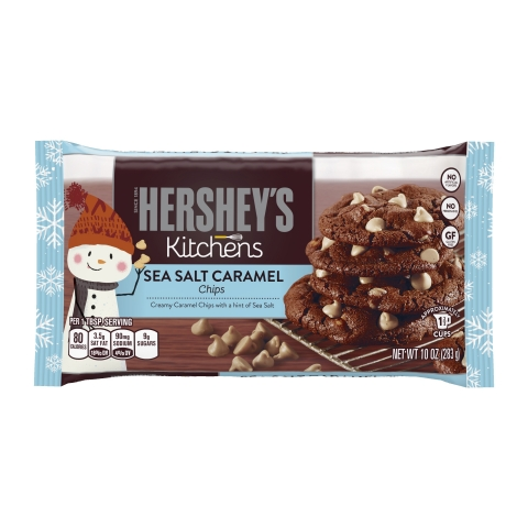 Hershey's Kitchens launches New Sea Salt Caramel Baking Chips to inspire new recipes for the holiday season. The chips are gluten free and have no artificial flavors or preservatives. (Photo: Business Wire)
